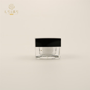 High quality 5g 15g 30g 50g 100g  black white square acrylic plastic face cream empty jar