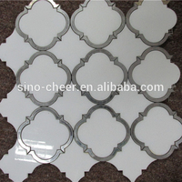 Modern style design waterjet jet cut marble inlay tile