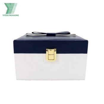Cash commodity double PU leather jewelry storage box,leather watch box