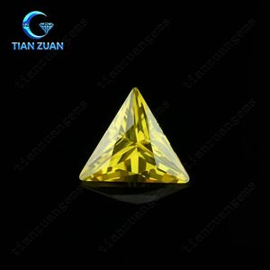 5A Triangle shape yellow color cubic zirconia loose CZ stone