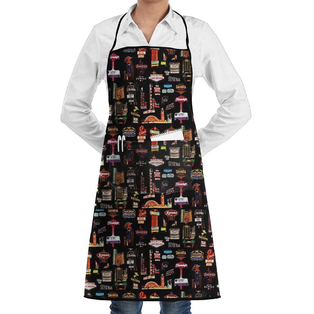 Malsjk8 Las Vegas Bib Apron Waterdrop Resistant With Pockets Cooking Kitchen Aprons For Women Men Chef