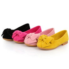 J G Chen 2016 New Fashion Girls Shoes PU Leather With Big Bowtie Candy Color Children