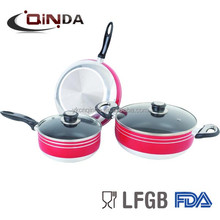 5 pcs non-stick cookware set ,screw body QD-S1305