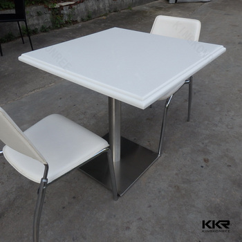 Marble Top Tables And Stainless Steel Table Base For Coffee Shop