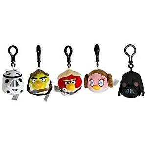 Star Wars Angry Bird Plush Backpack Clip Set of 5