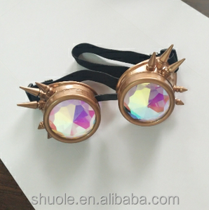 Gold Padded Kaleidoscope Goggles Real Glass Kaleidoscopic Lenses Rubber Guard Burning Party Steampunk Desert