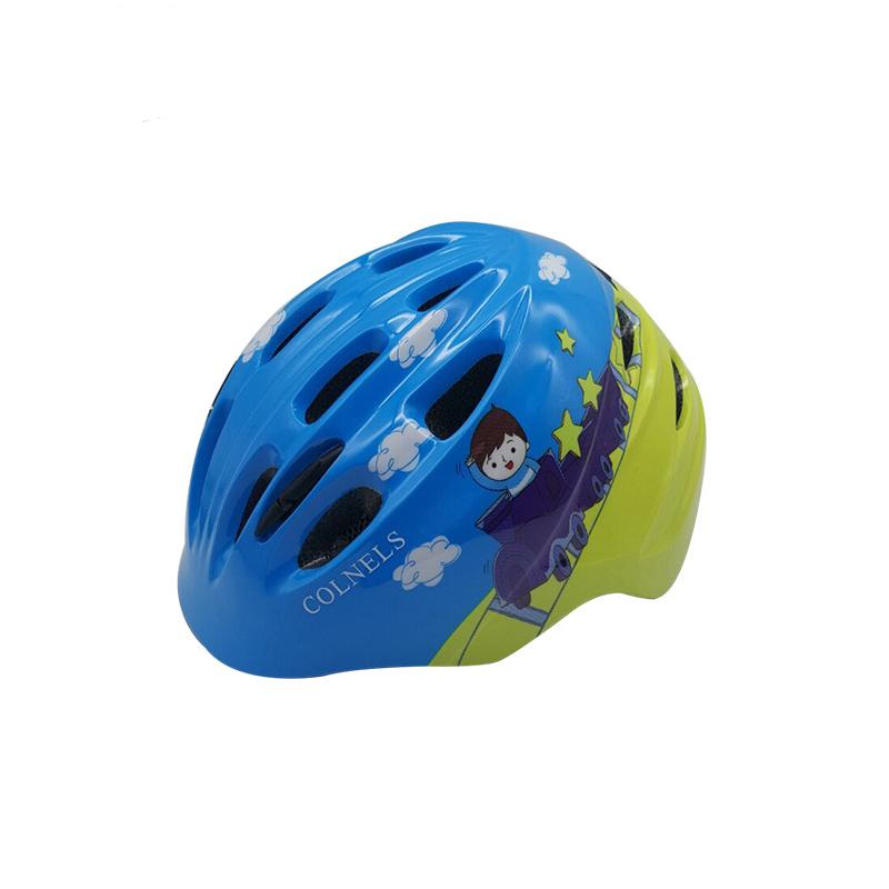Mavi gökyüzü tarzı 15 delikleri PC + EPS entegral kalıplı karton oyuncak kask çocuklar bisiklet kaskı