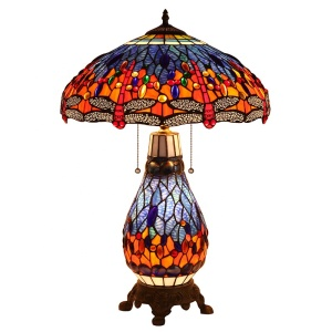 TFD-1725R Dragonfly Tiffany outlet Style Stained Glass Table/Desk Lamp