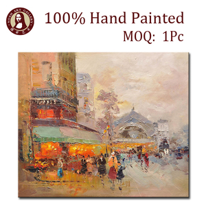 Wall decoration art city street oil painting