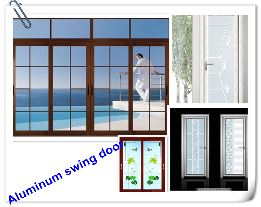 Aluminium Double Glass Slimline Swing kitchen Door interior flush door
