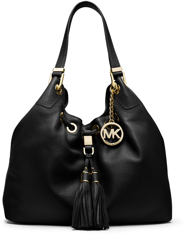 620287b52232 Get Quotations · Michael Kors Large Camden Drawstring Leather Shoulder Bag  (BLack)