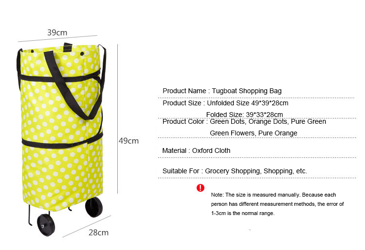 Wholesale Manufacturers Supermarket Trolley Wheels Reusable Adult Small Foldable Shopping Trolley Cart Bag