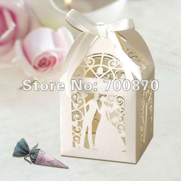 120pcs Bride Groom Ivory Laser Cut Wedding Favor Boxes