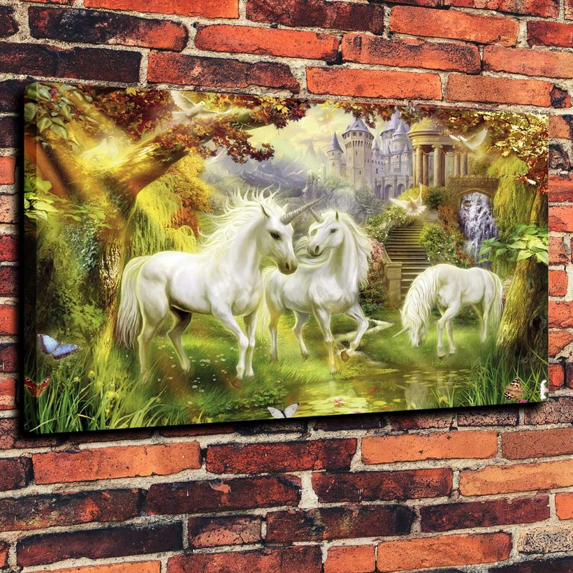 Canvas Prints Wall Art Decorative Painting Western Home Decor for Unicorn Fantasy Horse ( No Framed )