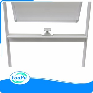Double sides magnetic mobile white board with wheels magnetic stand whiteboard sliding white board