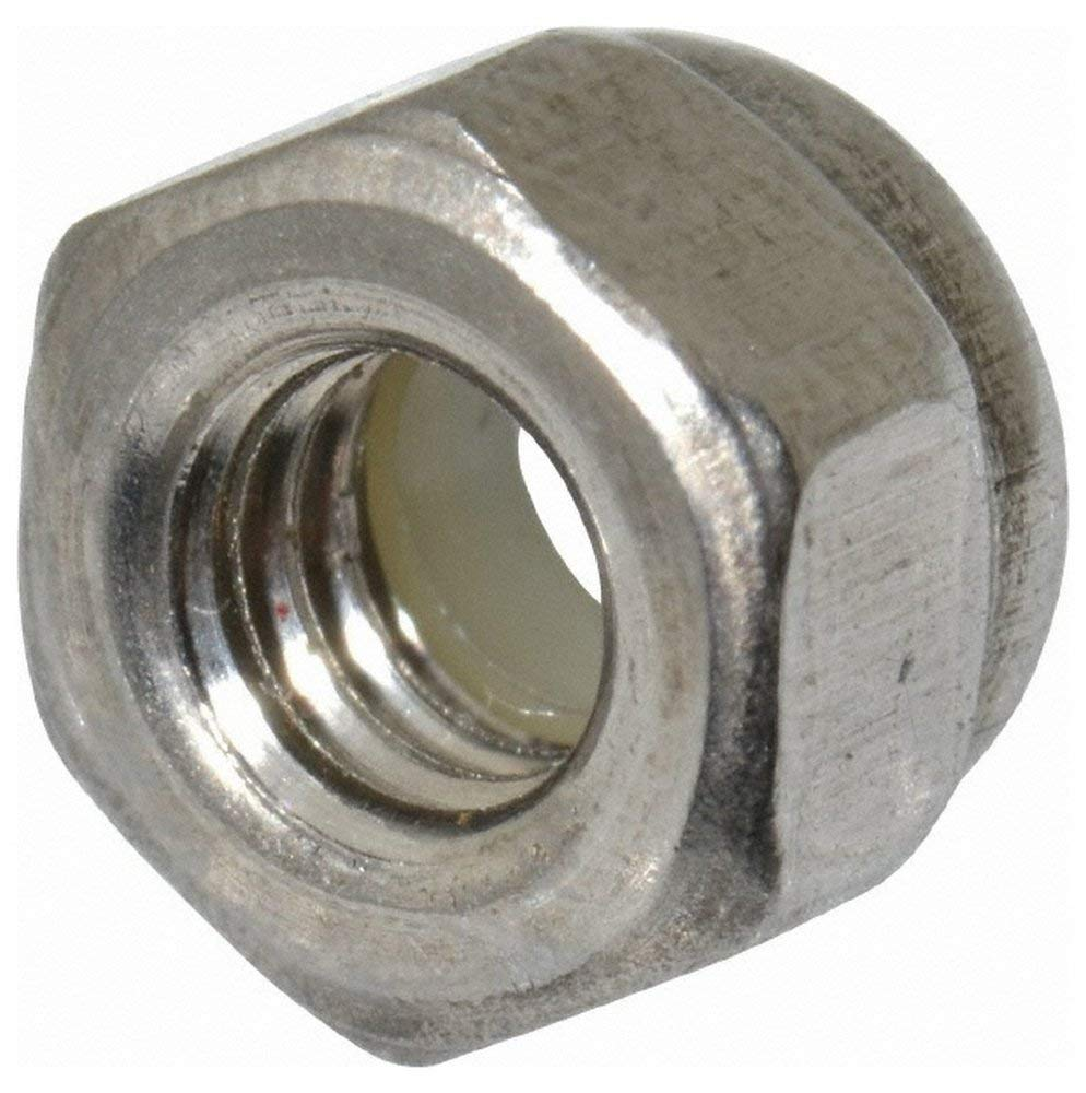 M4x0.70 Metric Coarse, 18-8, Austenitic Grade A2 Stainless Steel Hex Lock Nut with Nylon Insert 7mm Width Across Flats, 5mm High, Right Hand Thread, Uncoated Finish