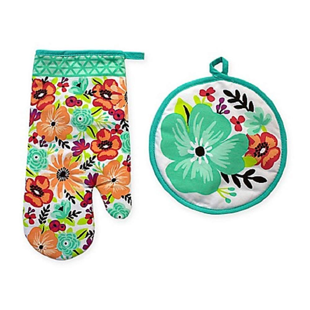 Summer Floral 2-Piece Oven Mitt and Pot Holder Set Protective, Clear Silicone Backing