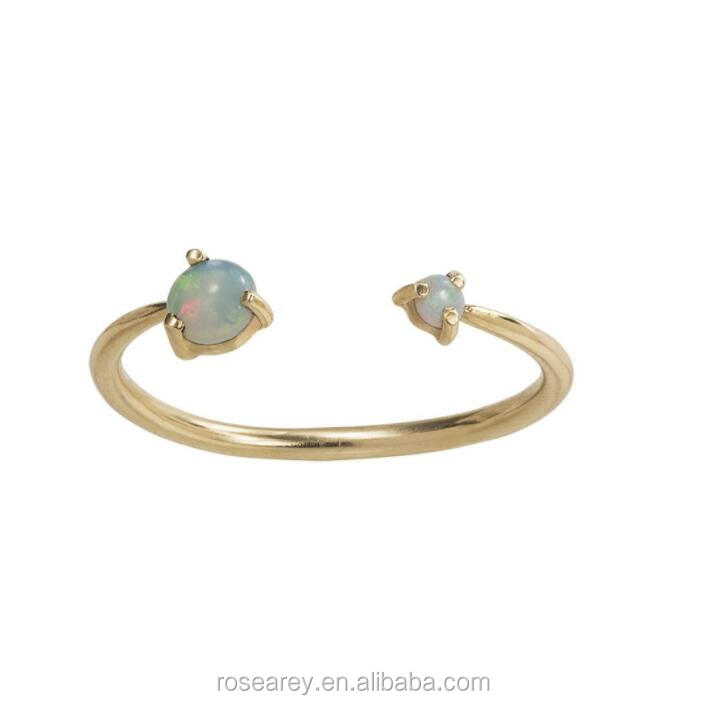 Minimalist Simple  Stone Thin Skinny Gold Plating Stacking Adjustable Synthetic Opal Ring