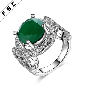 Factory direct supply white gold plated with romantic emerald circular diamond ring for women