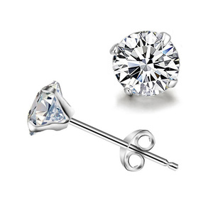 925 Sterling Silver Round Diamond Stud Earrings