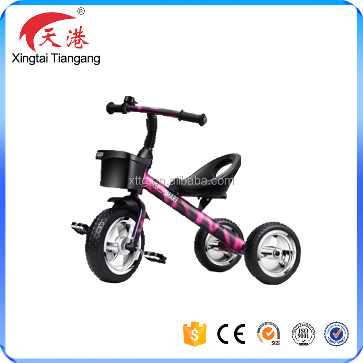 2017 best sale manpower children tricycle,baby three wheel bike,kids ride on car with basket
