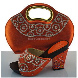 Women promotional orange Africa Woman s Matching shoe and bag Set Matching  for dress 688f0926f59d