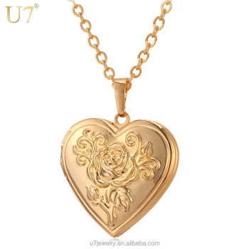 6c7d43127 U7 vintage jewelry gift women rose gold plated open photo heart locket  necklace