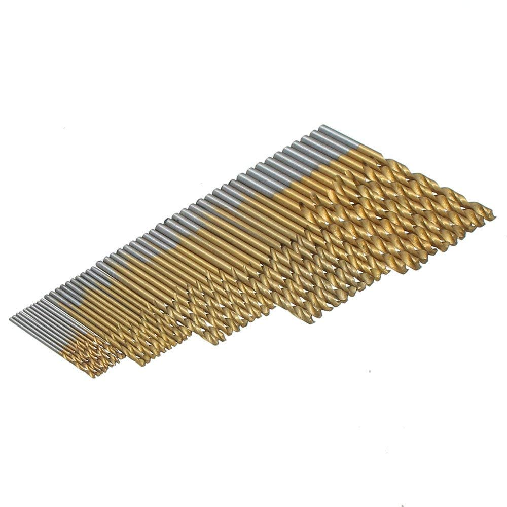 Hitommy Drillpro 50PCS 1/1.5/2/2.5/3mm HSS Titanium Coated Twist Drill Bits High Speed Steel Drill Bit Set