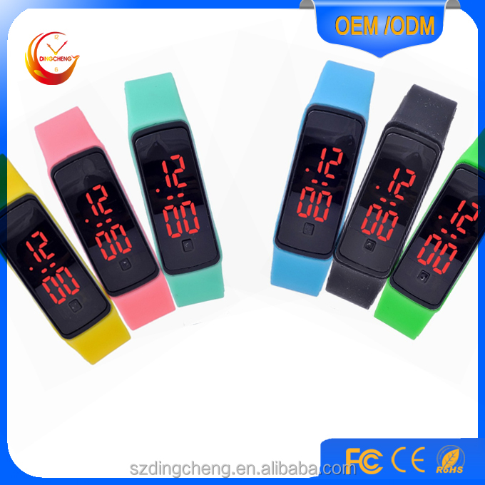 New Arrival Fashion Sport LED Watches Candy Color Silicone Rubber Touch Screen Digital Watches, Bracelet Wristwatch