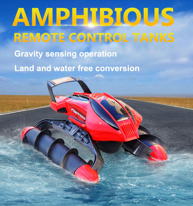 Flytec 989-393 RC Car 8CH Amphibious Car RC Tanks With Light Special Design Remote Control Toy Red
