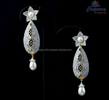 bf59e75c5 Indian American diamond earring - Designer Cubic Zircon earring ...