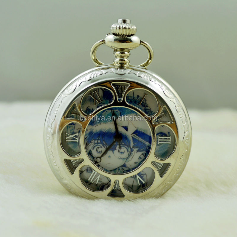 The silver pattern hollow out large quartz pocket watch anime literally Custom dial