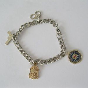Wholesale metal military officer bracelet with charms