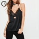 OEM Black Strap Satin Lace Insert Cami Tops Women