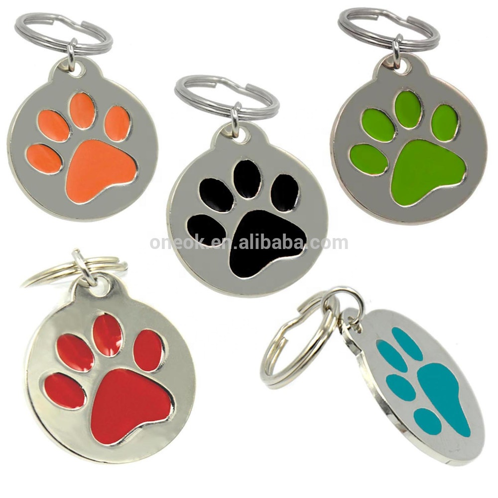 Personalized Engraved <strong>Designers</strong> Round Paw Pet ID Tag Dog Tag