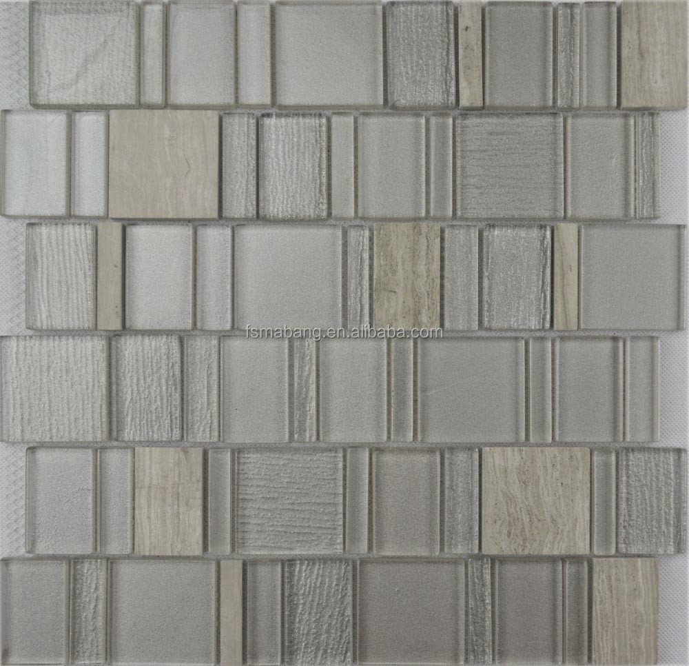 Mbp5014 gemengd formaat verticale grijs glas metro tegels ...