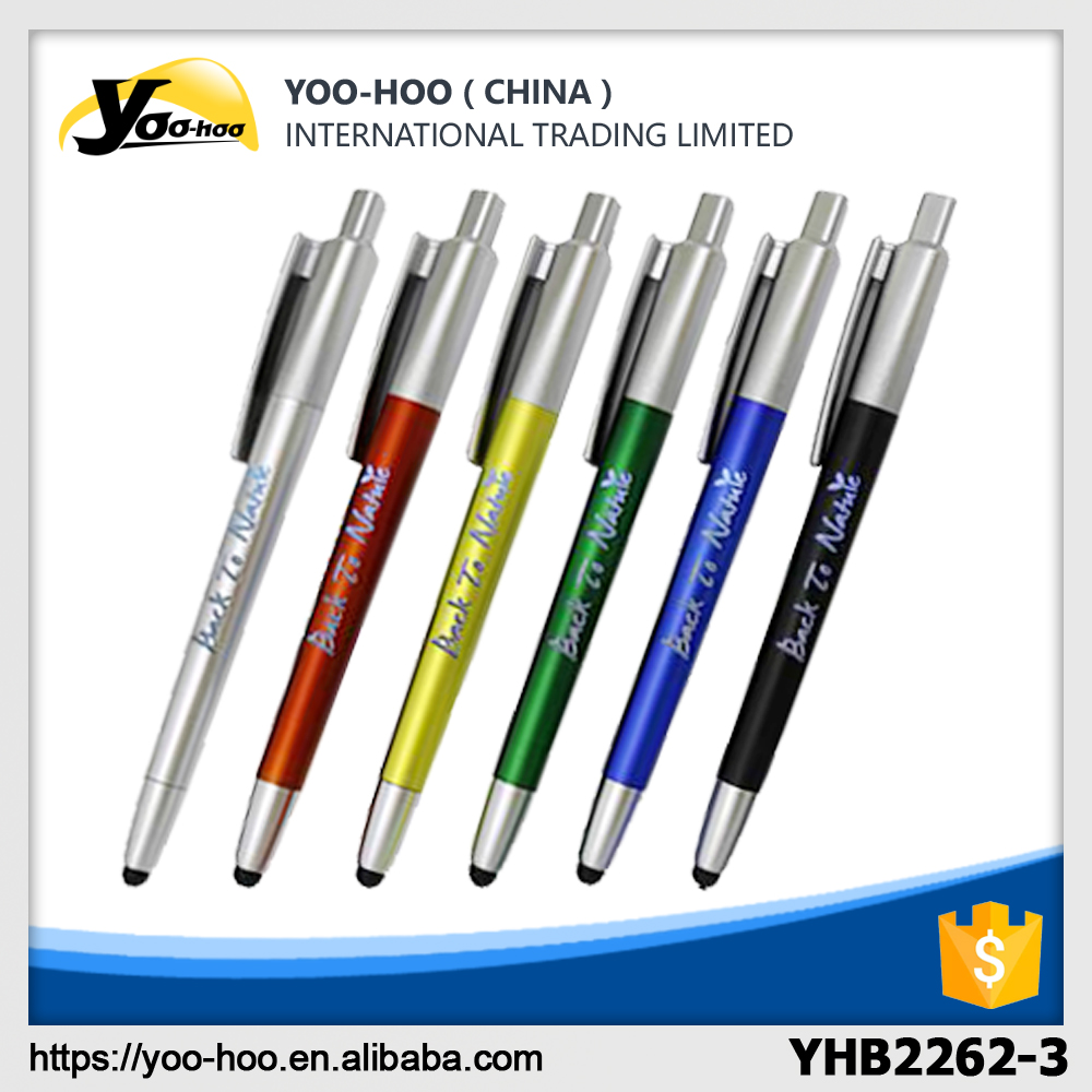 Color plastic touch ball pen with LED light logo