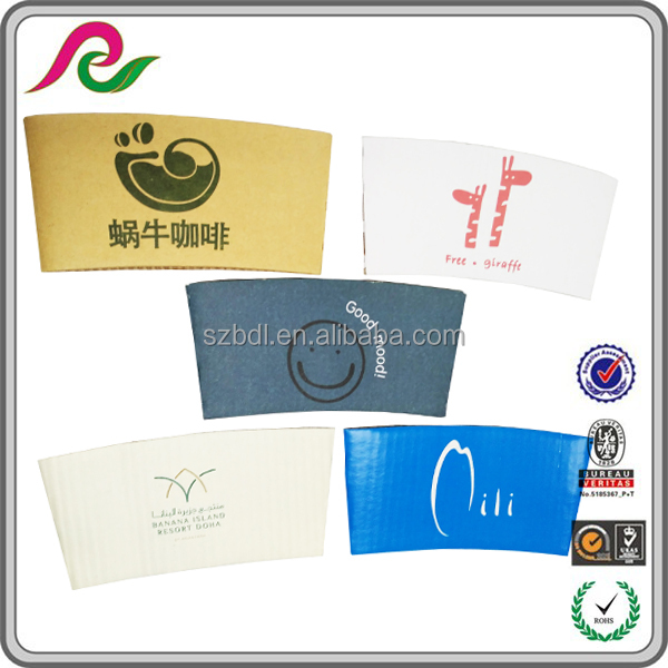 Corrugated folding sleeves with printing for coffee cups