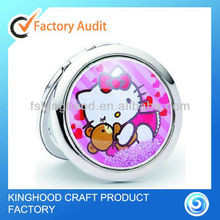 M25014M-3 round shaped compact pocket mirror with crystal decoration