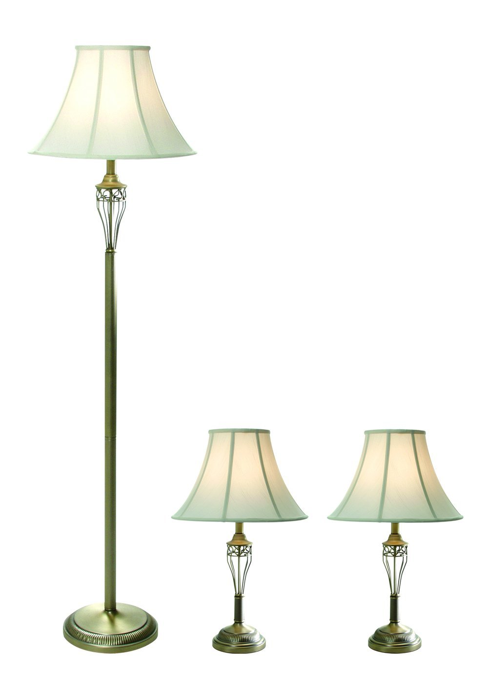 "Elegant Designs LC1001-ABS Three Pack Lamp Set (2 Table Lamps, 1 Floor Lamp), 7"" x 16"" x 25"", Antique Brass"