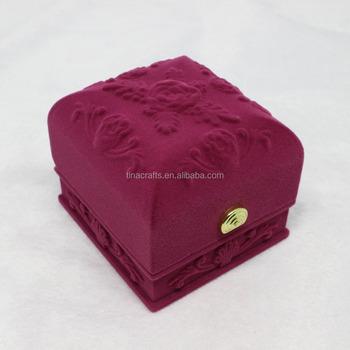 Velvet Jewelry Packaging Box Bracelet Gift Box With Flower Pattern