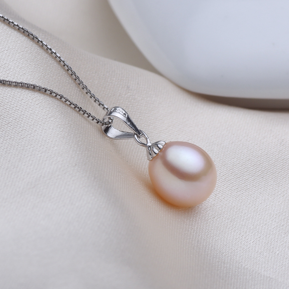 Drop shape freshwater pearl pendant necklace