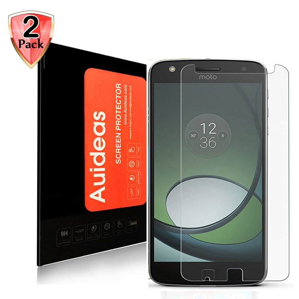 Moto Z Play Screen Protector,Auideas Moto Z Play Screen Protector Tempered Glass Screen Protector for Motorola Moto Z Play Droid 5.5 Inch Screen Protector [2-Pack]