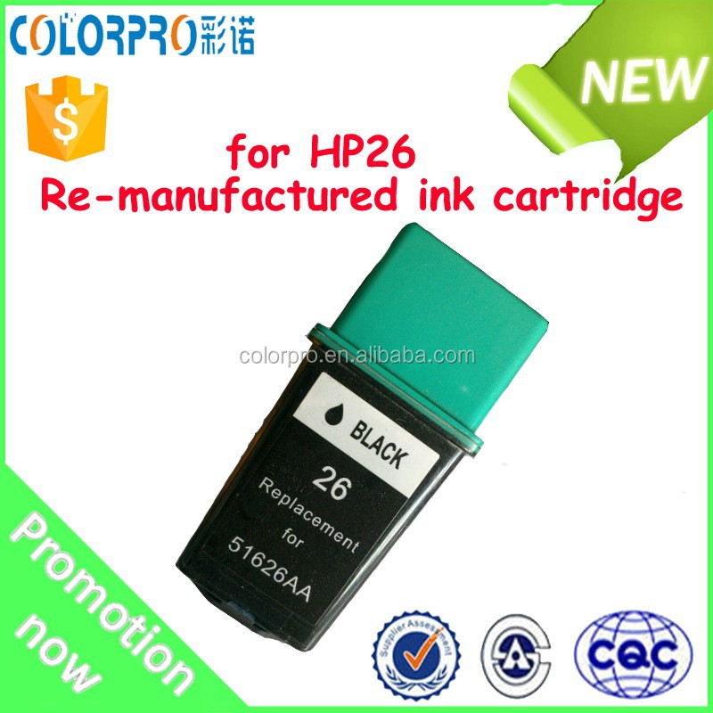 Re-manufactured ink cartridge 51626 compatible for HP26