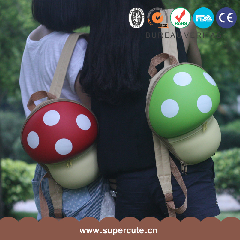 Kindergarten Bags Rucksack Backpack EVA Mushroom Orange backpacks school