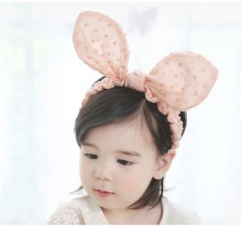 White Baby Bows Headband With Polka Dot Bunny Ears Baby Girl Elastic  Headband For Baby Shower f8a01f60ece