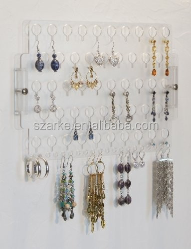 Wall Mount Earring Holder Rack Hanging Jewelry Organizer Display ...