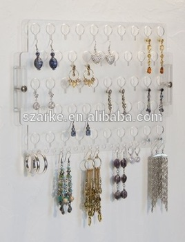 Wall Mount Earring Holder Rack Hanging Jewelry Organizer Display Closet Storage Mounted Acrylic