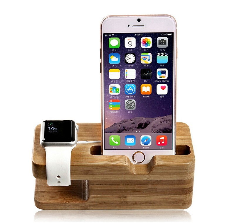 BRG For iPhone Bamboo Wood Charging Stand Art stand for apple watch