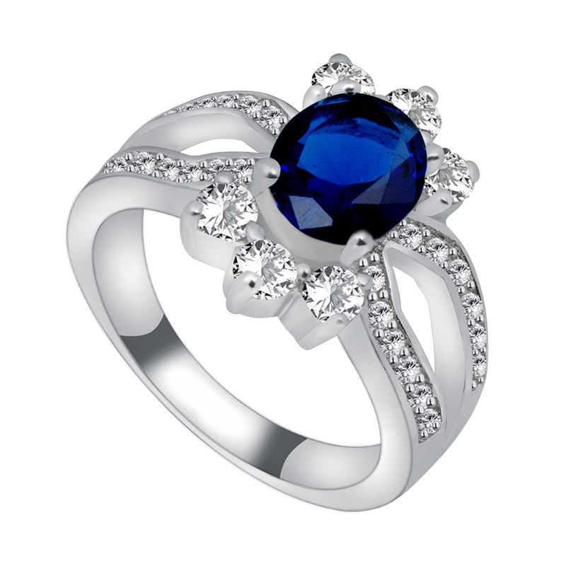 Flower Jewelry Wedding Sz5/6/7/8/9/10 Women/Men Blue Sapphire Ring Anel Aneis 10KT White Gold Filled White Zircon Rings RW1077
